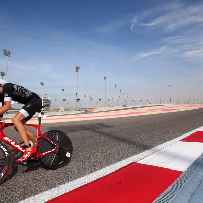 BAHRAIN, BAHRAIN - DECEMBER 06: Participants compete in the cycle leg during the Challenge Triathlon Bahrain on December 06, 2014 in Bahrain, Bahrain. (Photo by Charlie Crowhurst/Getty Images for Challenge Triathlon) *** Local Caption ***